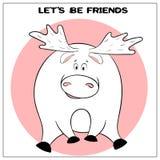 Cartão engraçado do vetor com os alces gordos bonitos e a frase dos desenhos animados O conceito do projeto do divertimento para  ilustração stock
