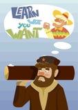 Cartão engraçado do vetor com um homem do russo Aprenda o que você quer Imagens de Stock