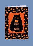 Cartão engraçado e bonito do vetor do Dia das Bruxas em preto e em alaranjado Abóbora orelhuda do gato grande da polpa de buttern ilustração stock