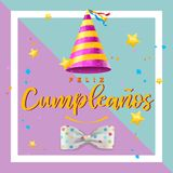Cartão engraçado e colorido do feliz aniversario imagens de stock