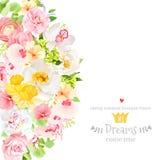 Cartão ensolarado do projeto do vetor da mola com flores e folhas ilustração royalty free