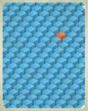 Cartão envelhecido com teste padrão dos cubos ilustração stock