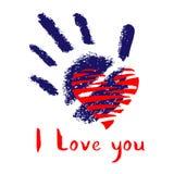 Cartão estilizado com rotulação desenhado à mão, handprint e coração vermelho ilustração royalty free