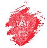 Cartão eu te amo na mancha vermelha Ilustração Stock
