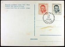Cartão, exposição Praga, 1948 imagem de stock