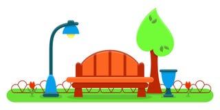 Cartão exterior com banco, árvore, lâmpada e urna Imagens de Stock Royalty Free