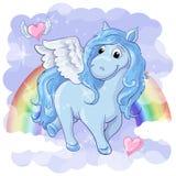 Cartão fantástico com Pegasus Fotos de Stock Royalty Free