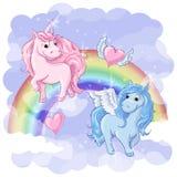 Cartão fantástico com Pegasus e unicórnio Imagens de Stock