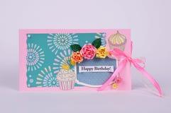 Cartão feito a mão com flores Fotos de Stock Royalty Free