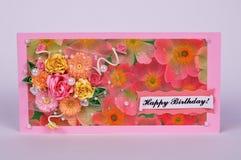 Cartão feito a mão com rosas Fotos de Stock