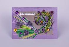 Cartão feito a mão do feriado com flores Foto de Stock Royalty Free
