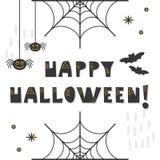 Cartão feliz bonito abstrato preto e dourado da mensagem de Dia das Bruxas ilustração royalty free