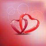 Cartão feliz bonito do amor do dia de Valentim com coração vermelho em Abtr Fotografia de Stock Royalty Free