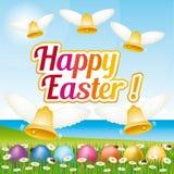 Cartão feliz bonito e colorido da Páscoa com ovos da páscoa e sinos ilustração IV Fotos de Stock Royalty Free