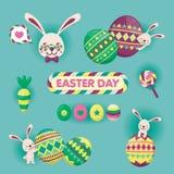 Cartão feliz colorido da Páscoa com coelho, ovo da páscoa e materiais bonitos Ilustração do vetor Imagem de Stock