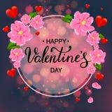 Cartão feliz com flores cor-de-rosa, rotulação do dia do ` s do Valentim da mão, r Fotos de Stock