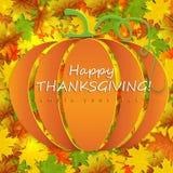 Cartão feliz da ação de graças com a abóbora com folhas de outono ilustração stock