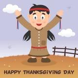 Cartão feliz da ação de graças da mulher nativa Imagens de Stock