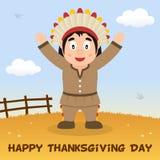 Cartão feliz da ação de graças do homem nativo Imagem de Stock