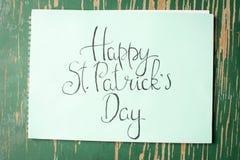 Cartão feliz da caligrafia do dia de St Patrick Foto de Stock Royalty Free
