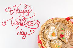 Cartão feliz da caligrafia do dia de Valentim com cookies foto de stock