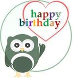 Cartão feliz da festa de anos do vetor com coruja bonito Foto de Stock Royalty Free