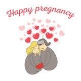 Cartão feliz da gravidez Fotos de Stock Royalty Free