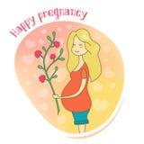 Cartão feliz da gravidez Imagens de Stock