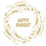 Cart?o feliz da grinalda do trigo de Shavuot Imagem do vetor ilustração do vetor