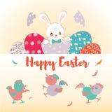 Cartão feliz da Páscoa, cartaz, com o coelho e os ovos bonitos, doces Imagens de Stock