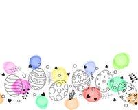 Cartão feliz da Páscoa com o ornamento tirado e floral colorido da mão da composição dos ovos da páscoa Imagem de Stock