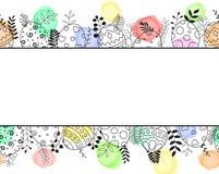 Cartão feliz da Páscoa com o ornamento tirado e floral colorido da mão da composição dos ovos da páscoa Fotos de Stock