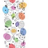 Cartão feliz da Páscoa com o ornamento tirado e floral colorido da mão da composição dos ovos da páscoa Imagens de Stock