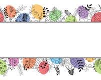 Cartão feliz da Páscoa com o ornamento tirado e floral colorido da mão da composição dos ovos da páscoa Fotografia de Stock Royalty Free