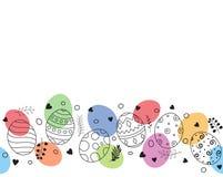 Cartão feliz da Páscoa com o ornamento tirado e floral colorido da mão da composição dos ovos da páscoa Imagem de Stock Royalty Free