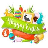 Cartão feliz da Páscoa com objetos decorativos ilustração do vetor