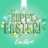 Cartão feliz da Páscoa com ovos das flores Fotografia de Stock