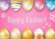 Cartão feliz da Páscoa em um fundo cor-de-rosa Fotos de Stock