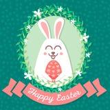 Cartão feliz da Páscoa Fundos felizes da Páscoa Coelho bonito Imagem de Stock
