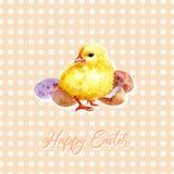 Cartão feliz da Páscoa Galinha bonito da aquarela com texto ilustração stock