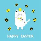 Cartão feliz da Páscoa Gato que guarda o grupo amarelo da flor da tulipa e do pássaro da galinha Amigos do pássaro do pintainho d Imagem de Stock Royalty Free