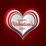 Cartão feliz da rotulação do dia do ` s do Valentim com um coração mergulhado no fundo vermelho Foto de Stock Royalty Free