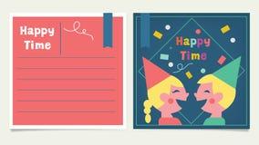 Cartão feliz das crianças do tempo feliz Imagens de Stock Royalty Free