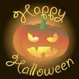 Cartão feliz de Dia das Bruxas Abóbora assustador de incandescência Fotos de Stock Royalty Free