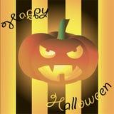Cartão feliz de Dia das Bruxas Abóbora assustador de incandescência no fundo preto Fotos de Stock Royalty Free
