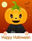 Cartão feliz de Dia das Bruxas com cabeça da abóbora ilustração royalty free