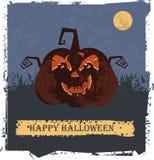 Cartão feliz de Dia das Bruxas com cabeça da abóbora Foto de Stock Royalty Free