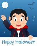 Cartão feliz de Dia das Bruxas com Dracula Fotos de Stock