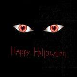 Cartão feliz de Dia das Bruxas com olhos vermelhos Imagem de Stock Royalty Free