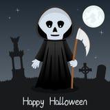 Cartão feliz de Dia das Bruxas do Ceifador Foto de Stock Royalty Free